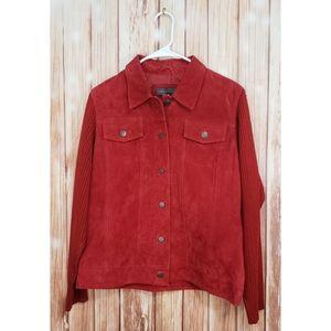 Relativity Medium Button Red Leather Biker Jacket